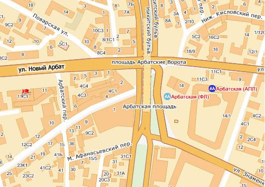 Схема проезда: ул. Новый Арбат