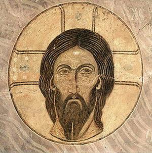 «Спас Нерукотворный». Фреска Спасо-Преображенекого собора Мирожского монастыря во Пскове